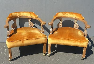 Pair Of Two Vintage Hollywood Regency Style Orange Velvet Scrolled ARM CHAIRS