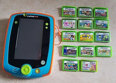 LeapFrog LeapPad 2 GLO Tablet (Teal) LOT Bundle with 14 Games Tangled Cars Jake