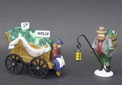 "Dept 56 Dickens ""Chelsea Market Mistletoe Monger & Cart"" Set of 2 Retired #58262"