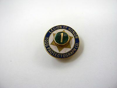Rare Vintage Collectible Pin: Todd Protectograph Co. Legion of Honor 1 Year
