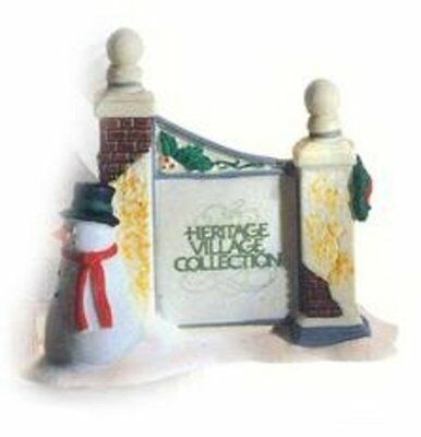 Department 56 Heritage Village Collection Village Sign with Snowman #5572-7