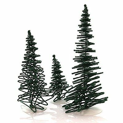 Department 56 Set of 3 FROSTED ZIG ZAG TREES Village Christmas 52507