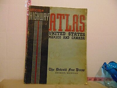 Vintage The Detroit Free Press Official Highway Atlas US Mexico and Canada