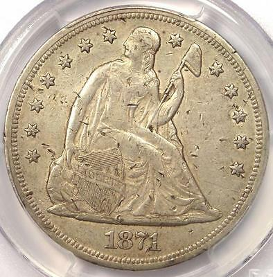 1871 Seated Liberty Silver Dollar $1 - PCGS AU Details - Rare Early Date Coin