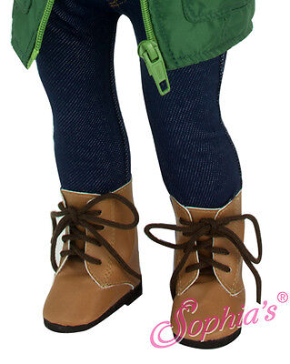 "Brown Lace Up Boot fits 18"" American Girl Doll Shoes"