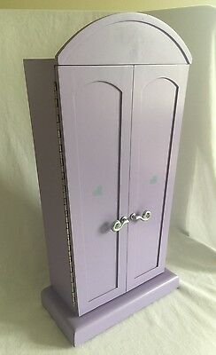 American Girl Doll Purple Armoire with Computer Desk & Accessories