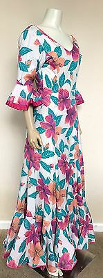 Vtg 50s 60s Flamenco Hawaiian Wiggle Mermaid Fitted Dress Gown Vlv Floral Print