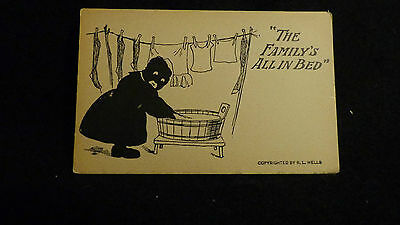 Black Americana Postcard  Never Used  By R. L. Wells The Family's All in Bed