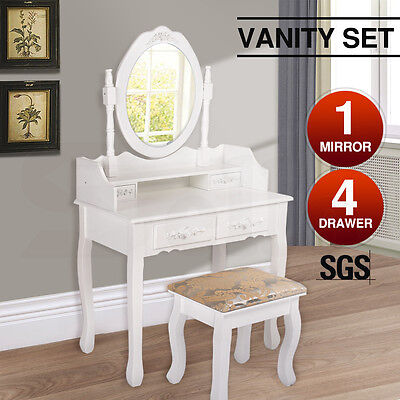 Luxury Dressing Table & Stool Mirrors Jewellery Cabinet 4 Drawers Organizer
