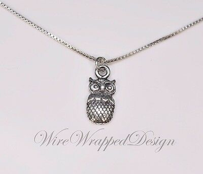 Necklace Owl - Sterling Silver - CUSTOMIZABLE - Sterling Silver Necklace Gift