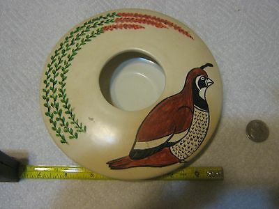 Hand Painted Quail Bowl Signed by Artist
