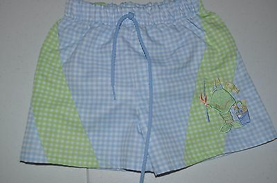 Boy's Size 2 Chez Ami Lobster Gingham Bathing Suit - Shorts