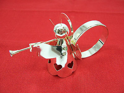 """Set 6 """"Christmas Hearts"""" Holiday Angel with Trumpets Silver Plate Napkin Rings"""