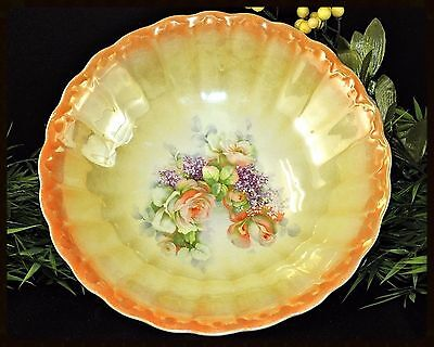 Antique Peach/Yellow Lusterware Bowl with Beautiful Floral Unmarked-German? VGC