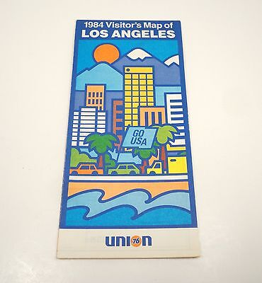Vintage 1984 Union 76 Los Angeles Gas Station Road Map Including Olympics Site