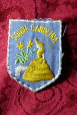 Vintage Travel Biker Patch South Carolina Crinoline Girl