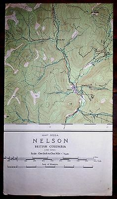 Vintage Map National Topographic Series Nelson British Columbia 1948
