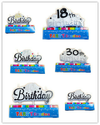 Age Cake Top Candles Happy Birthday Party 18th 21st 30 40 50 60 Decor