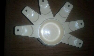 Vintage Collectible 1970's Tupperware Off White Measuring Cups - Set of Six