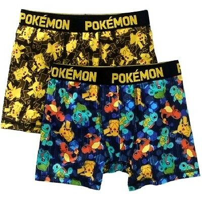 POKEMON Sz 10 Boxer Briefs BOYS UNDERWEAR 2 Pk PIKACHU CHARMANDER SQUIRTTLE  NEW