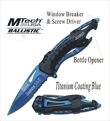 8 Groomsmen Gift-Personalized, Engraved, Rescue Survival Pocket Hunting Knife-BL