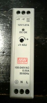 Mean Well MDR-20-12 20W DIN Rail Single Output Power Supply 12V 1.67A/ Pwr.Cord