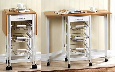 KITCHEN TROLLEY EXTENDED TABLE ** Additional Counter Storage & Drawer **NIB