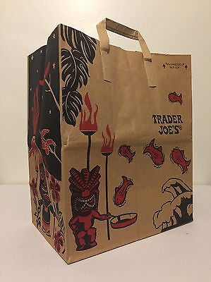 Trader Joes Tiki Idol Paper Shopping Bag Discontinued Mask Torches Fish Flowers