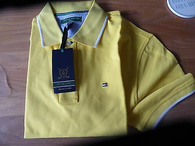 Mens Tommy Hilfiger Yellow Golf Polo Shirt Size M Bnwt