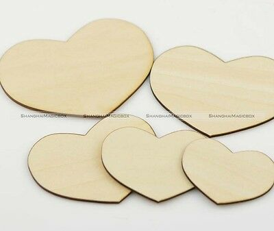 50pcs 5cm Wooden Wood Love Heart Pieces Painting Craft Cardmaking Scrapbooking