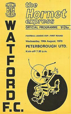 Watford v Peterborough United - League Cup - 19/8/1970 - Football Programme