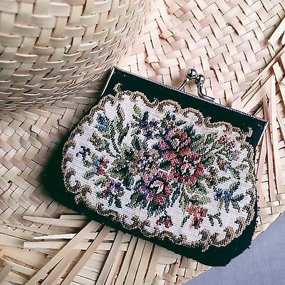 Vintage Needlepoint Tapestry Coin Purse Boho Festival Indie
