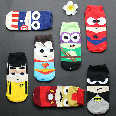Harajuku Summer Hero Cartoon Men's Casual Low Ankle Cotton Socks Boat Slippers