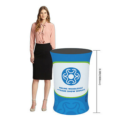 Trade Show Booth Podium Dye-Sub Oval Fabric Tension Counter (Graphics Included)