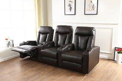 Home Theater Seating Manual Latch Recliner Black Bonded Leather FREE SHIPPING
