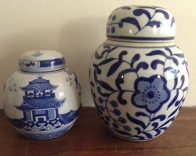 2 Blue and White Floral Oriental Ginger Jars -15cm x 11cm and 10cm x 9cm