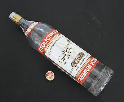 Russia Russian Stolichnaya Stoli Vodka 3L Clear Glass Bottle EMPTY