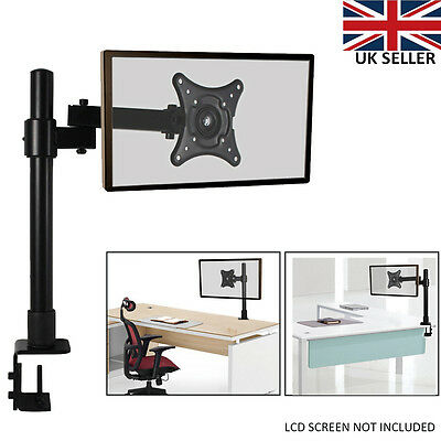 "Office Single Arm Desk Mount LCD LED Computer Monitor Bracket 13-27""Clamp Table"