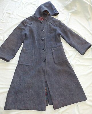 VINTAGE RETRO SIZE 10 / 12    70's WOOL BLEND WITH GREY FLECK  LADIES MAXI COAT