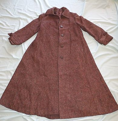 VINTAGE RETRO SIZE 10 / 12    70's WOOL BLEND WITH BROWN FLECK  LADIES MAXI COAT