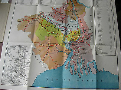 India: Large Folding Map of West Bengal, Published Calcutta, no date but c. 1965