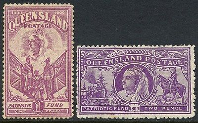 QUEENSLAND : 1900 Boer War Patriotic Fund set 1d & 2d.  SG 264a-b.