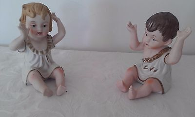 19th century Victorian Bisque piano dolls hand painted