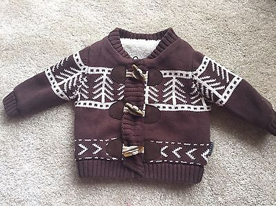 Baby Boys Brown Faux Fur Lined Cardigan - Age 0-3 Mths