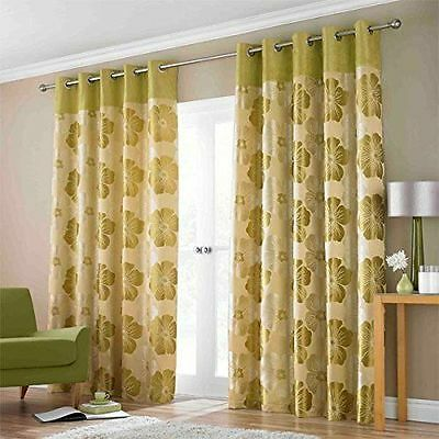 "Lana Lime Green Eyelet Ring Top Fully Lined Ready Made Curtains 66""x54"""