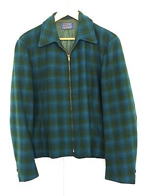 Pendleton Ricky Jacket Shadow Plaid Wool Coat Rockabilly L/M Great Condition