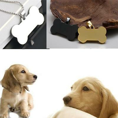 Bone Shape Steel Stainless Engraved Cat Pet ID Name Dog Tag