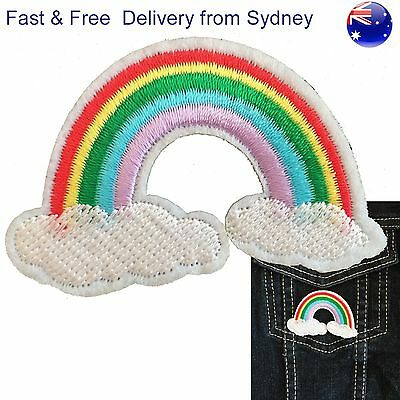 Rainbow above clouds iron on patch - Dreamy good luck pot of gold embroidery