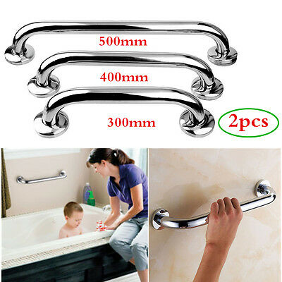 2pcs Stainless Steel Shower Disability Aid Support Grip Handle Towels Rail 300mm