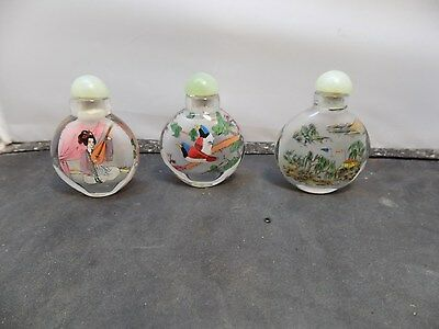 Vintage Set of Chinese Inside Painted Snuff Bottle / Bottles -